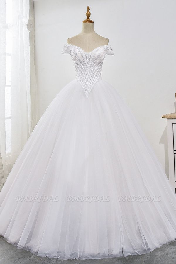 Stunning Off-the-Shoulder Ball Gown White Tulle Wedding Dress Sweetheart Sleeveless Beadings Bridal Gowns Online
