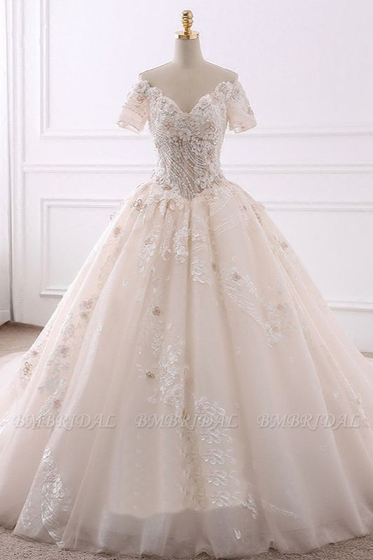Ball Gown V-Neck Tulle Beadings Wedding Dress Lace Appliques Short Sleeves Bridal Gowns with Flowers On Sale