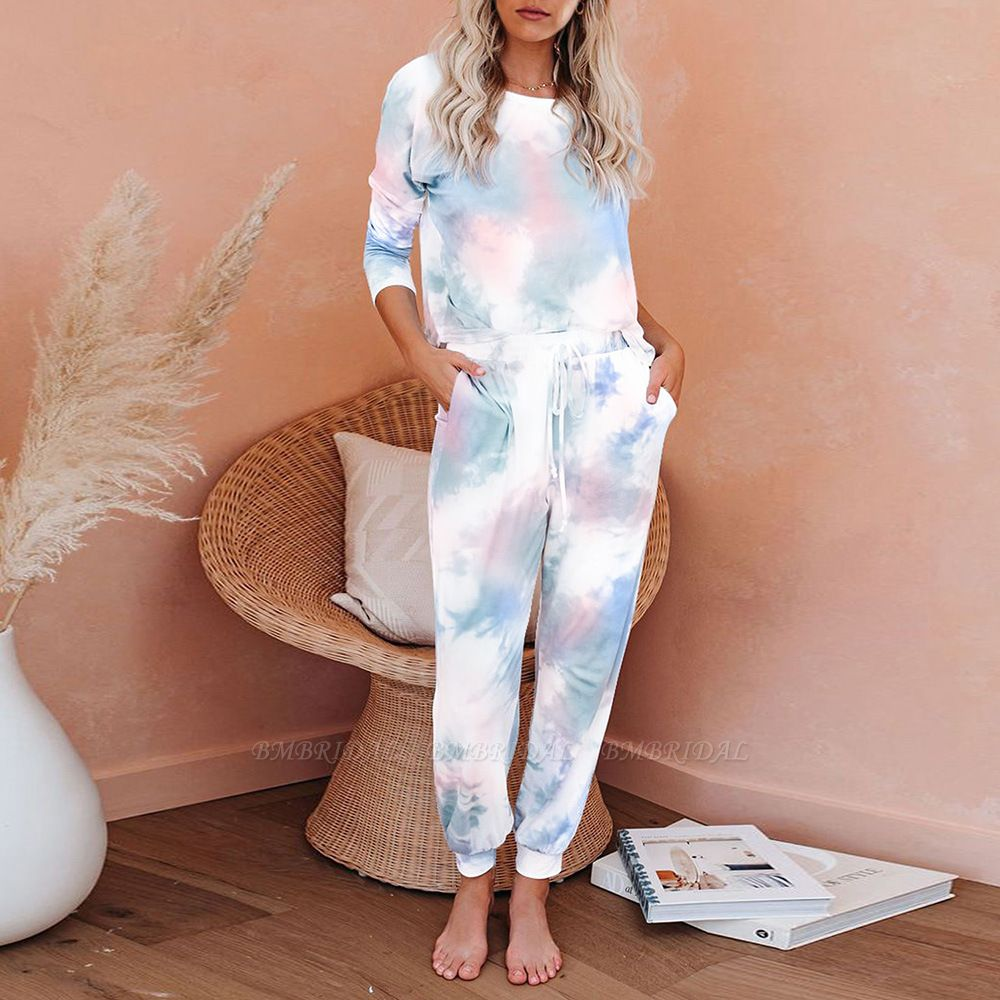 Fashion Long Sleeve Homewear Two Pieces Tie-dye Round Neck Pajamas
