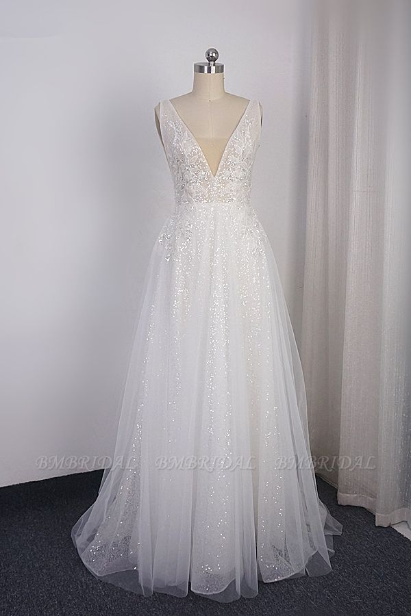 Sparkly Sequined V-Neck Wedding Dress Tulle Sleeveless Beadings Bridal Gowns On Sale