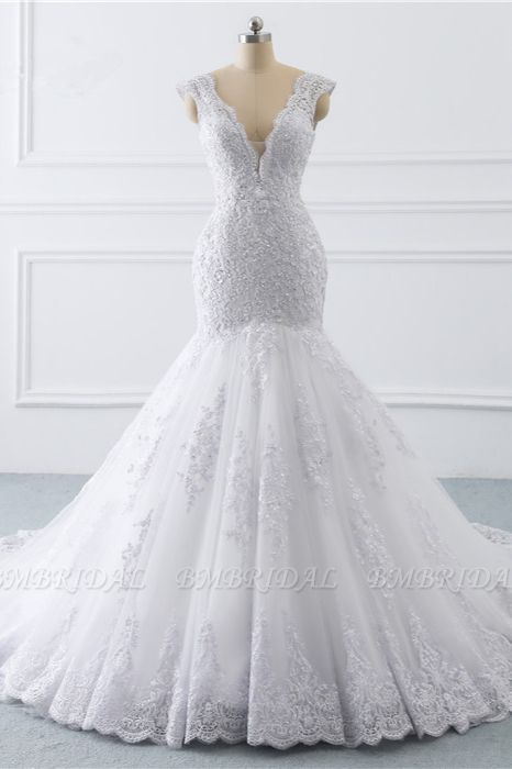 BMbridal Gorgeous V-Neck Tulle Lace Wedding Dress Sleeveless Mermaid Appliques Bridal Gowns On Sale