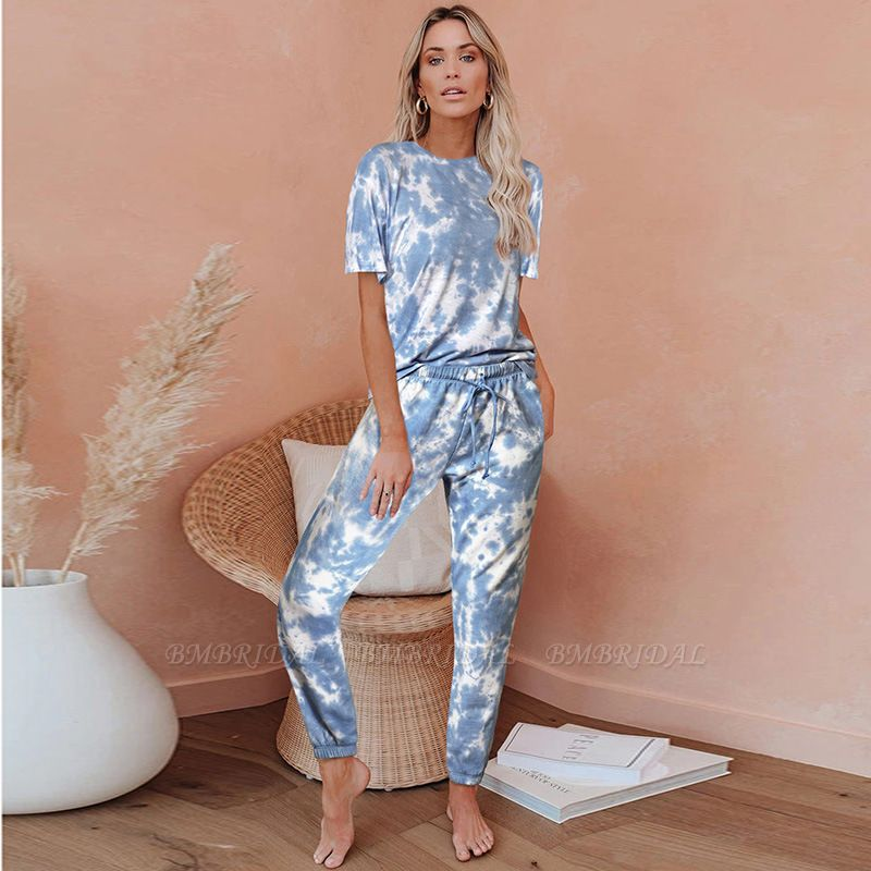 Tie-dye Short-sleeved Pajamas Women Printing Comfortable Ladies Home Wear