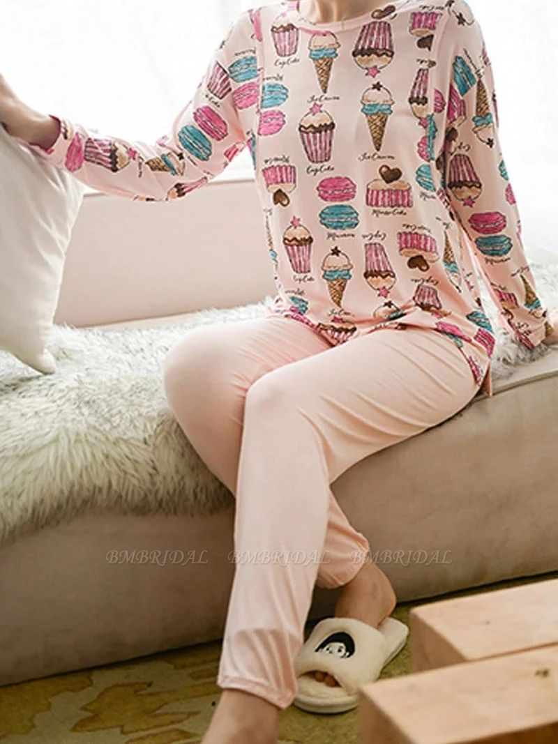 BMbridal Lovely Long Sleeve Home Wear Modal Two-piece Pajamas with Cartoon Printed