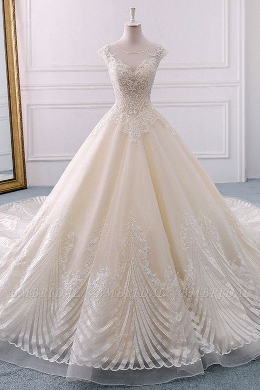 BMbridal Gorgeous Jewel Lace Appliques Wedding Dress Sleeveless Beadings Bridal Gowns with Sequins Online