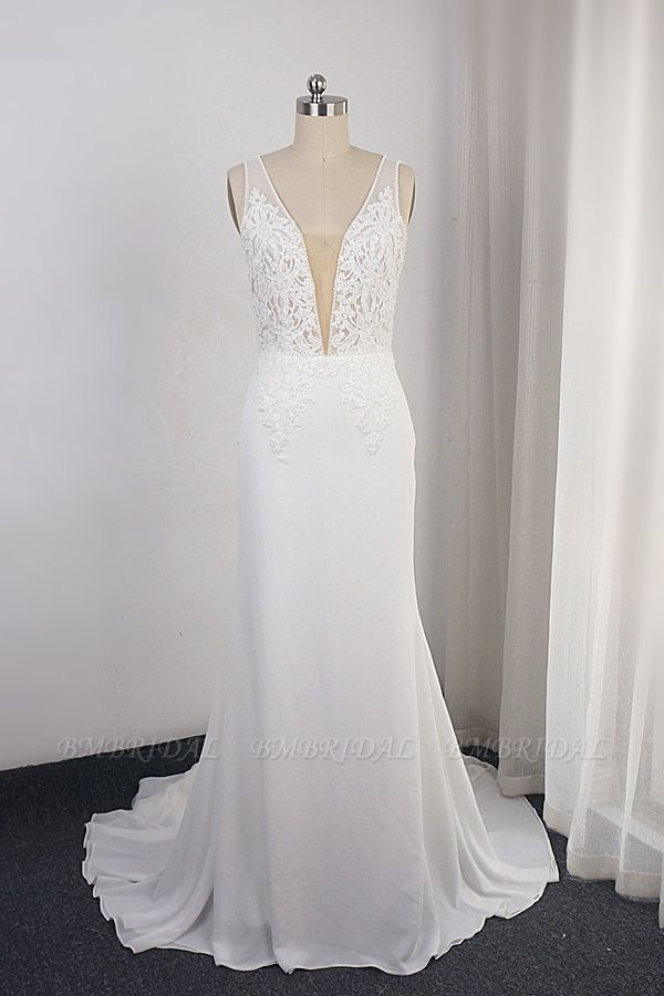 BMbridal Sexy Deep-V-Neck Chiffon Sheath Wedding Dress Lace Appliques Sleeveless Pearls Bridal Gowns Online