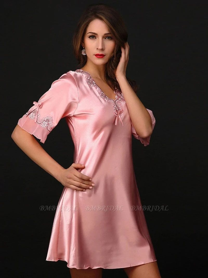 BMbridal Sexy Women Satin Silk V-Neck Pajamas with Embroideries