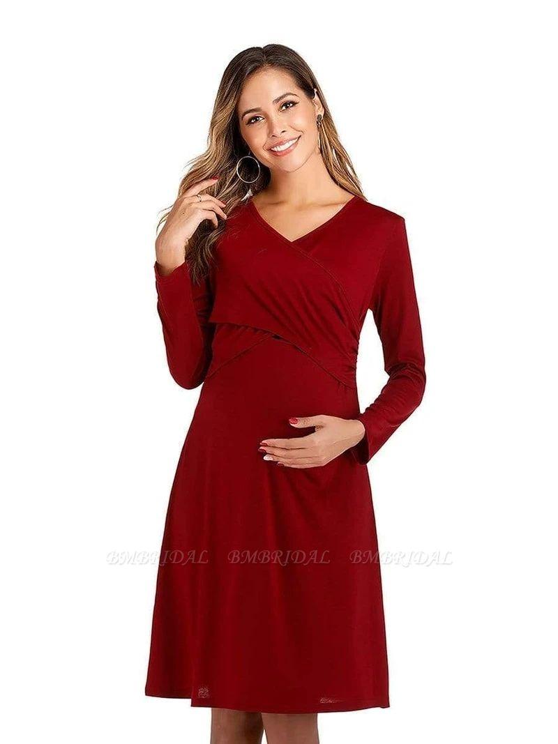 BMbridal Burgundy V-Neck Long Sleeves Short Maternity Dresses with Ruffles