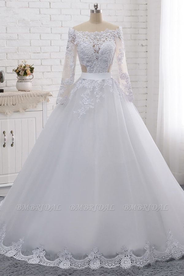 Stylish Off-the-Shoulder Long Sleeves Wedding Dress Tulle Lace Appliques Bridal Gowns with Beadings On Sale