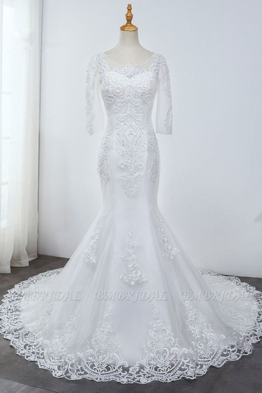 Elegant Jewel 3/4 Sleeves Mermaid White Wedding Dress Tulle Lace Appliques Beadings Bridal Gowns On Sale