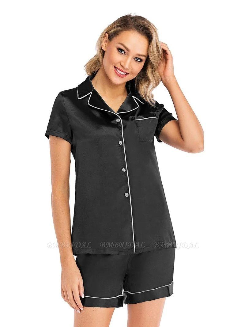 Sexy Fashion Women Summer Silk Sleepwear with Short Sleeves
