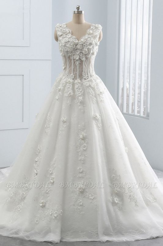 BMbridal Glamorous V-Neck Tulle Wedding Dress with Flowers Appliques Sleeveless Beadings Bridal Gowns Online