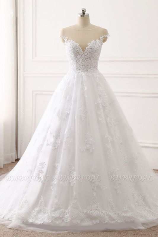 BMbridal Affordable Jewel Tulle Lace White Wedding Dress Sleeveless Appliques Bridal Gowns Online