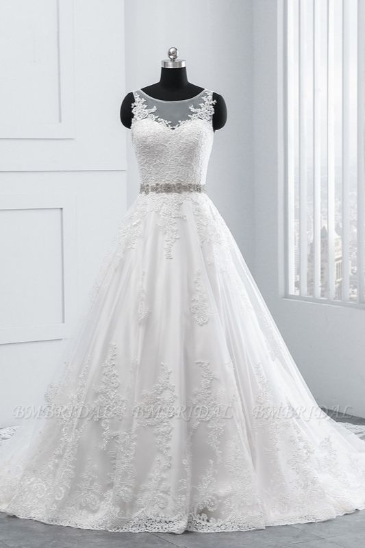 BMbridal Simple Jewel Tulle Lace Wedding Dress A-Line Appliques Beadings Bridal Gowns with Sash Online