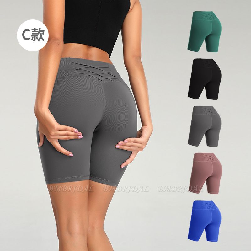 BMbridal Yoga Shorts Women Sports Wear Fitness Short Pants Skinny Female Push Up Gym Clothing Solid Color Elastic Breathable Flex