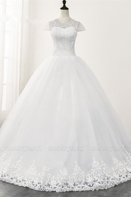 Chic Ball Gown Jewel White Tulle Lace Wedding Dress Short Sleeves Rhinestones Bridal Gowns Online