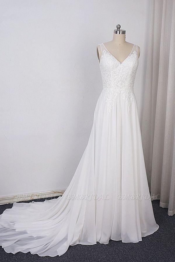BMbridal Elegant Straps V-neck Chiffon White Wedding Dress Sleeveless Lace Appliques Ruffle Bridal Gowns On Sale