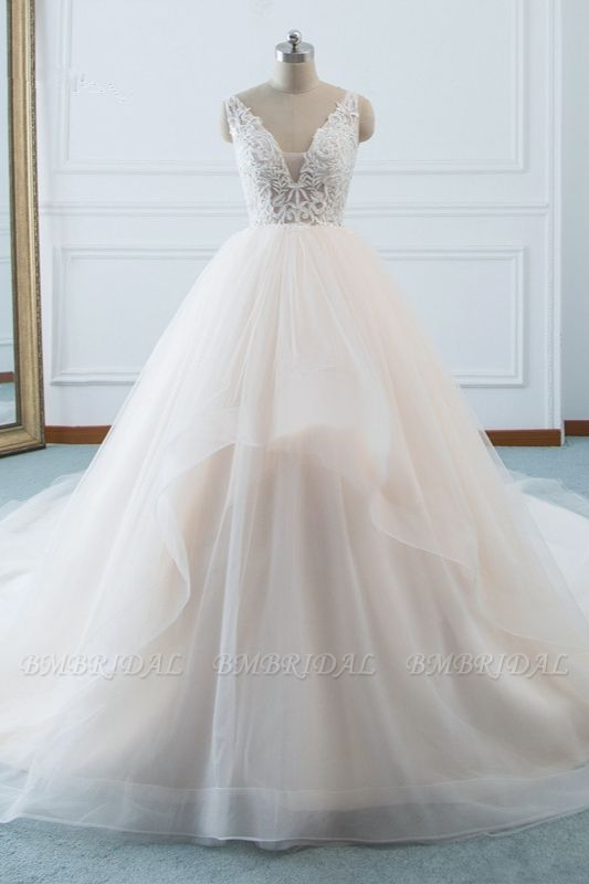 Simple V-Neck White Tulle Wedding Dress Sleeveless Lace Top Bridal Gowns with Beadings On Sale
