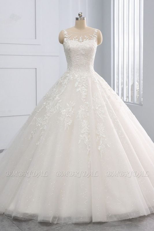 BMbridal Affordable Ball Gown Jewel Tulle Lace Wedding Dress Ruffles Sleeveless Appliques Bridal Gowns Online