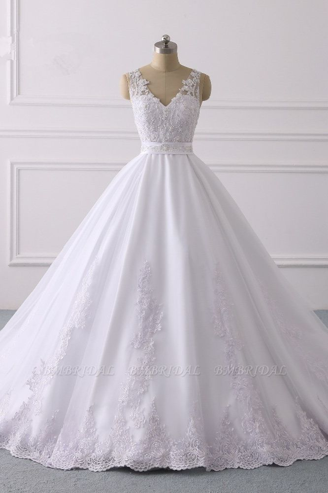 Gorgeous V-Neck Satin Tulle Lace Wedding Dress White Appliques Sleeveless Bridal Gowns On Sale