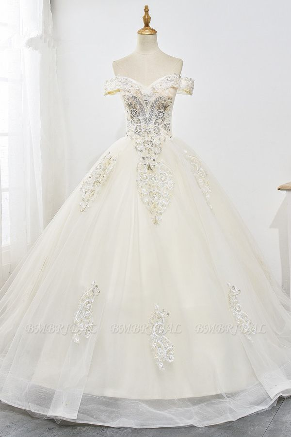 Gorgeous Off-the-Shoulder Champagne Tulle Wedding Dress Ball Gown Lace Appliques Sleeveless Bridal Gowns Online