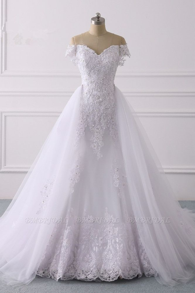 BMbridal Elegant Off-the-Shoulder Tulle Lace Wedding Dress Sweetheart Appliques Beadings Sleeveless Bridal Gowns On Sale