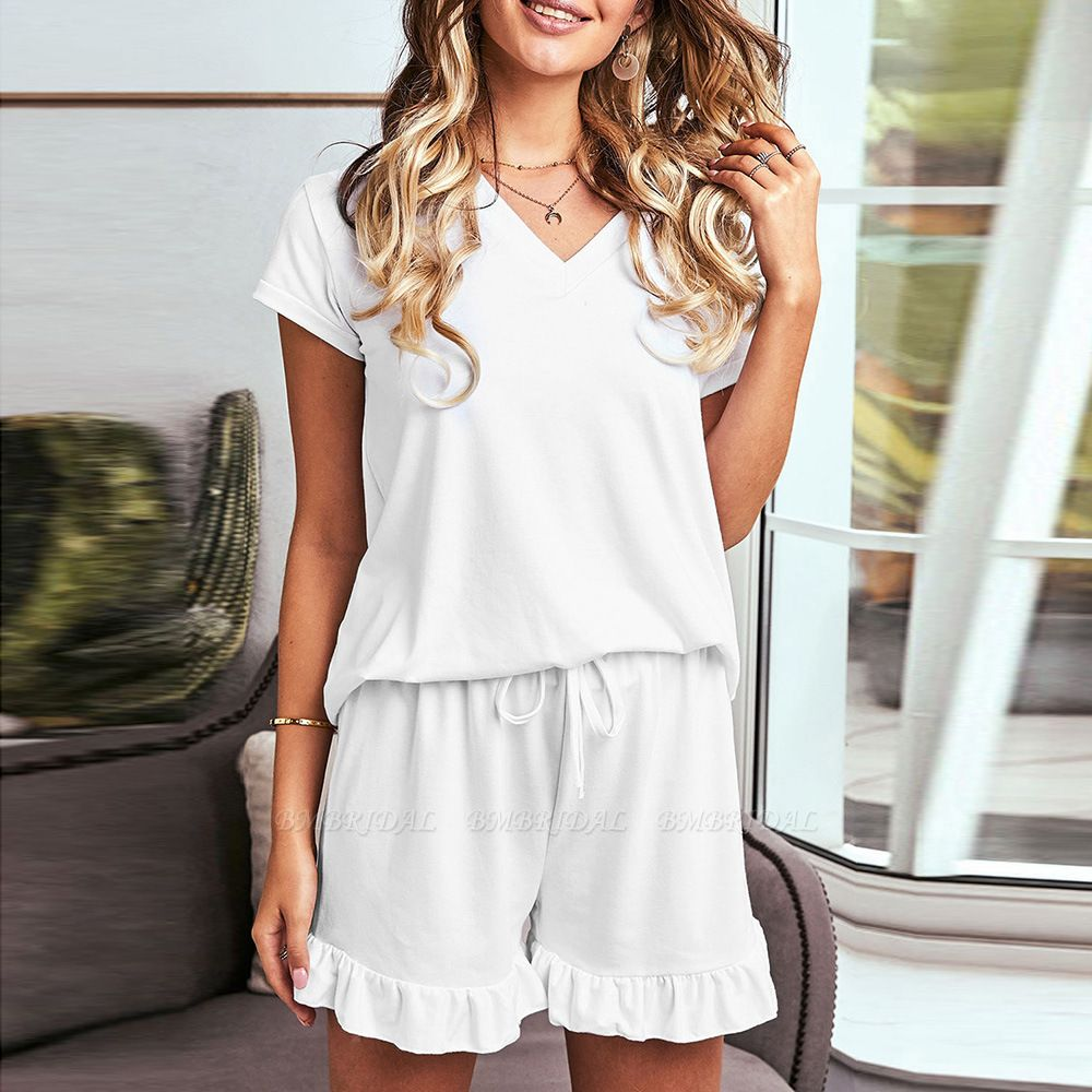 BMbridal Summer Homewear Two-Piece V Neck Comfortable Leisure Short Sleeved Pajamas