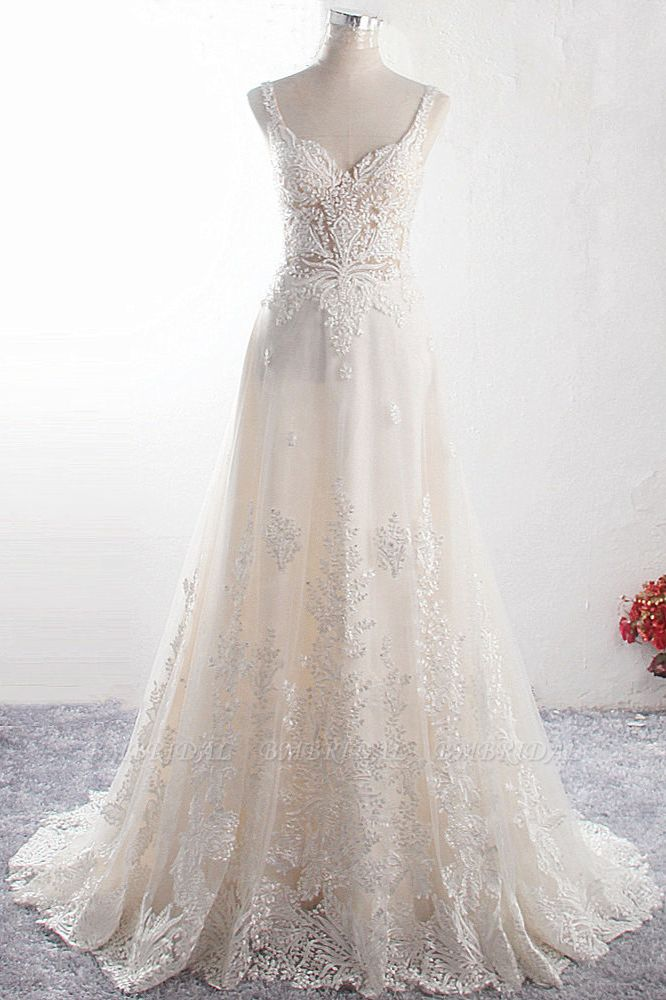 BMbridal Gorgeous Straps Sweetheart Tulle Wedding Dress Sleeveless Sweetheart Appliques Bridal Gowns with Pearls Online