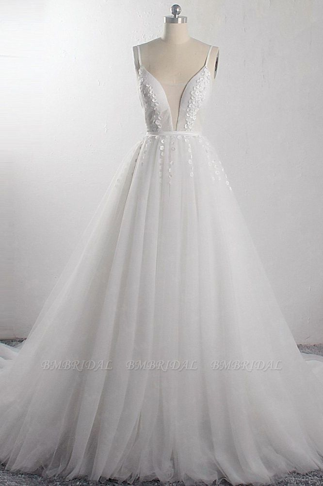 BMbridal Sexy A-Line Spaghetti Straps Tulle Wedding Dress Deep-V-Neck Appliques Sleeveless Bridal Gowns Online