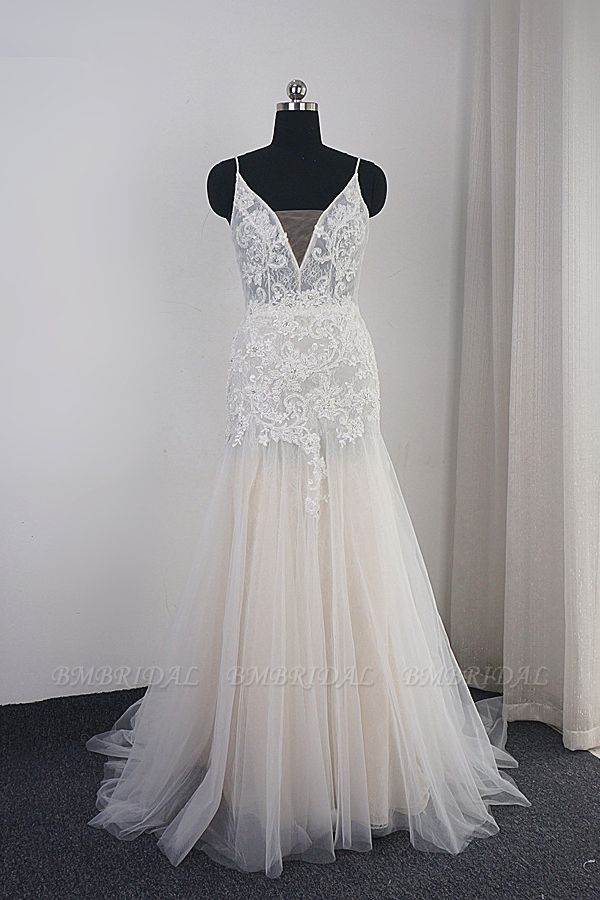 BMbridal Sexy Deep-V-Neck Tulle Mermaid Wedding Dress Lace Appliques Spaghetti Straps Beadings Bridal Gowns Online