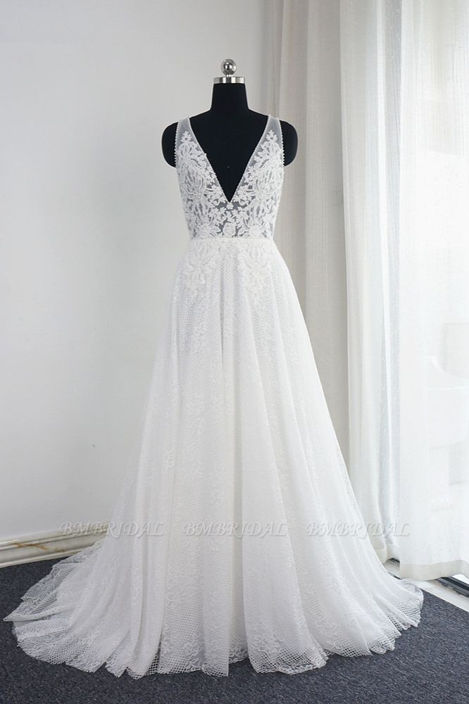 BMbridal Chic Tulle Lace Ruffles White Wedding Dress Sleeveless V-Neck Appliques Bridal Gowns On Sale