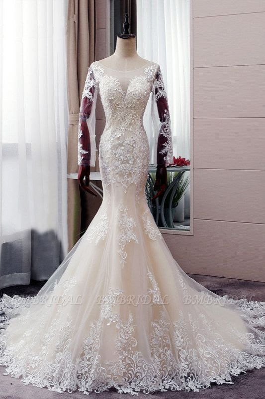 BMbridal Elegant Jewel Tulle Lace Mermaid Wedding Dress Long Sleeves Appliques Bridal Gowns with Beadings On Sale
