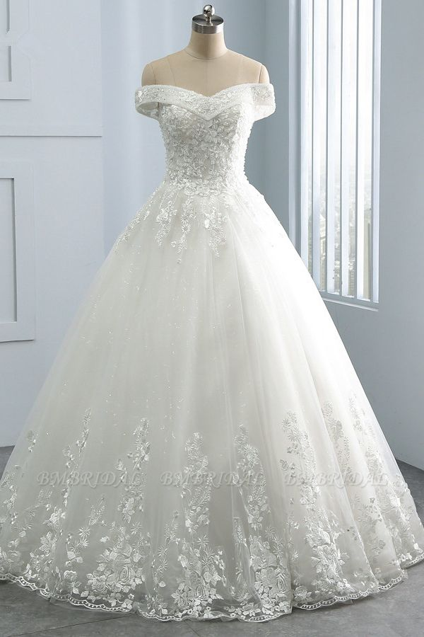 Gorgeous Off-the-Shoulder Tulle Appliques Wedding Dress Sweetheart Sleeveless Lace Bridal Gowns On Sale