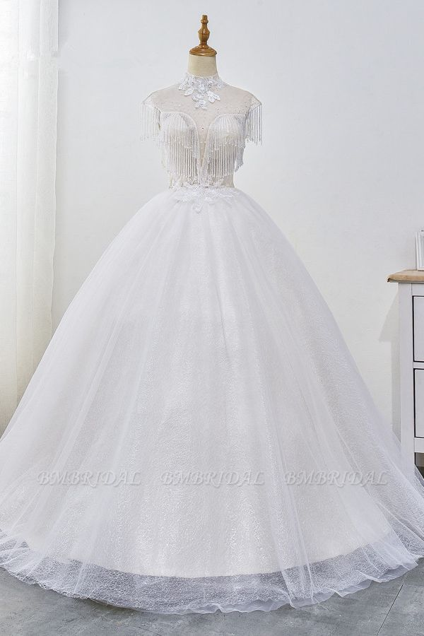 Luxury Ball Gown High-Neck Tulle Wedding Dress Sparkly Sequins Sleeveless Appliques Bridal Gowns with Tassels