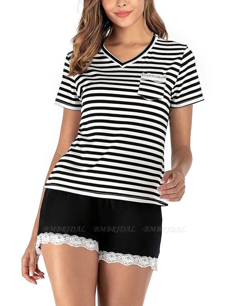 Two Pieces V Neck Lace Nightwear Modern Stripes Pajamas