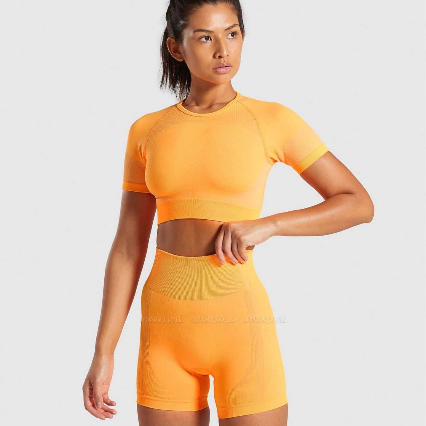 Sexy Women 2PCS Yoga Set Female Short Sleeves Top Fitness Shorts Running Gym Sports Clothes Suit