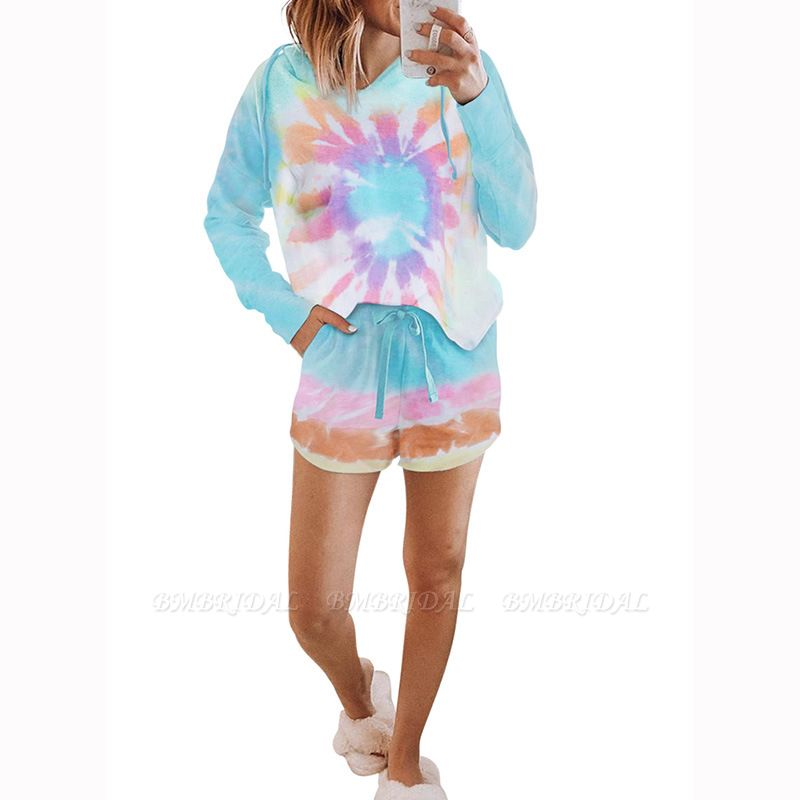 BMbridal Fashion Tie-dyed Pajamas Summer Long-sleeves Round Neck Homewear
