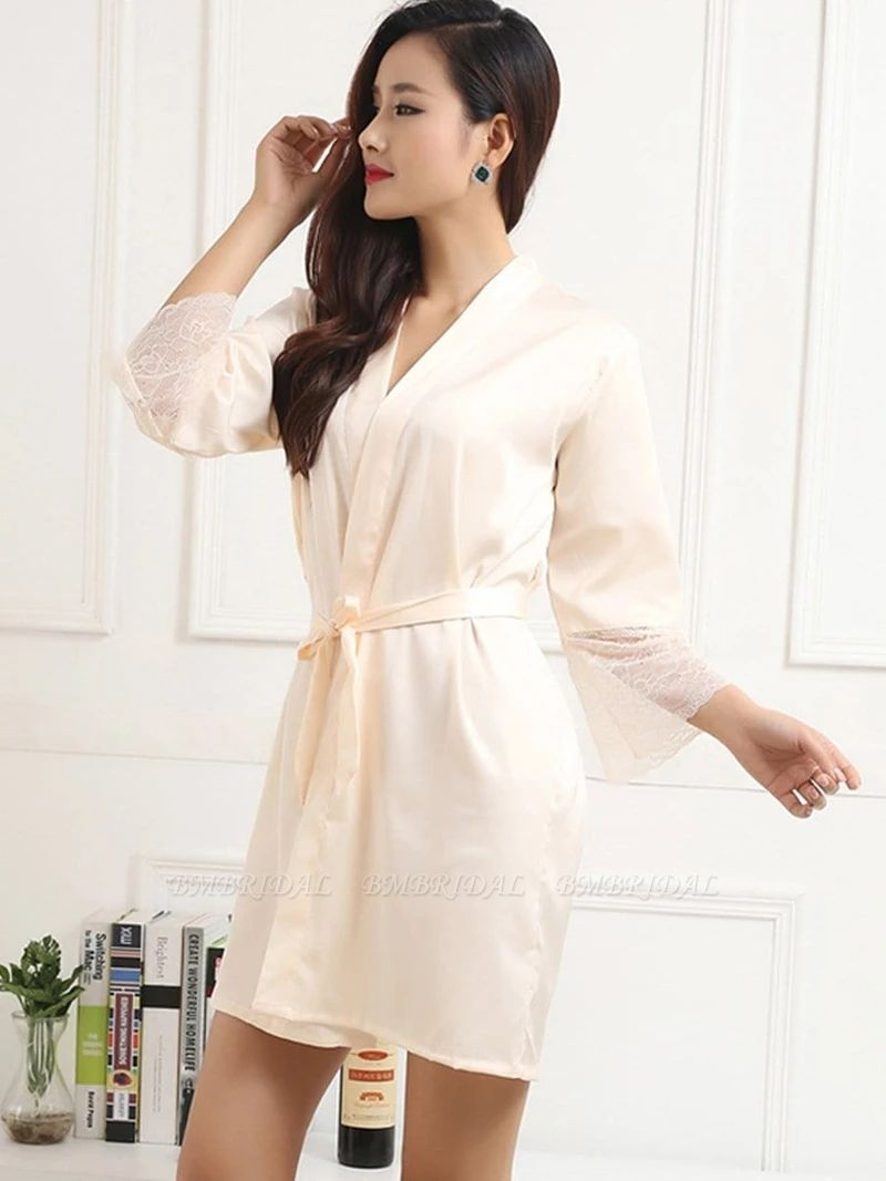 Women Long Lace Sleeves Silk Pajamas with Bow Sash On Sale