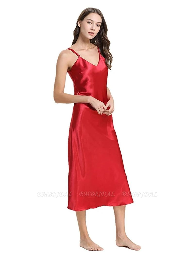 BMbridal Fashion Women's Sleeveless Lingerie Imitation Silk Red Pajamas Nightgown