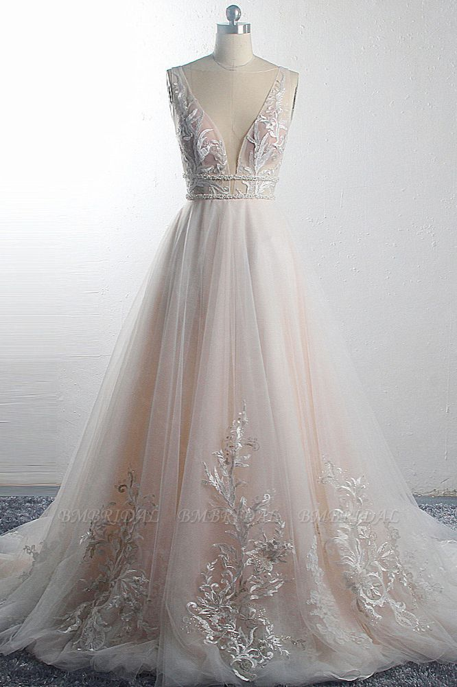BMbridal Sexy Deep-V-Neck Sleeveless Tulle Wedding Dress Ruffles Appliques Beadings Bridal Gowns with Sash On Sale