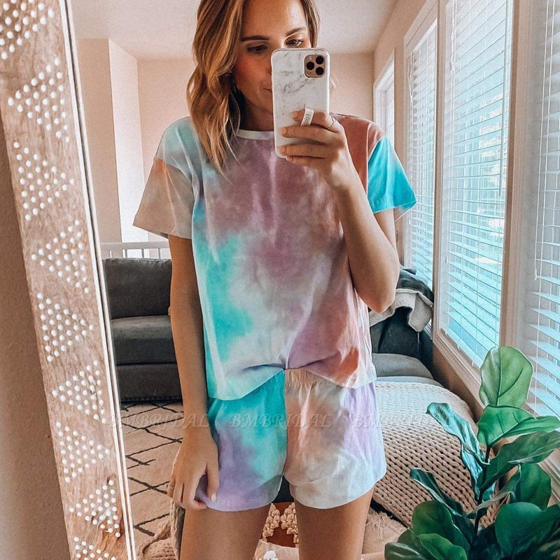 BMbridal Women's Tie-dye short-sleeved Pajamas Summer fashion Printed Two-piece Housewear