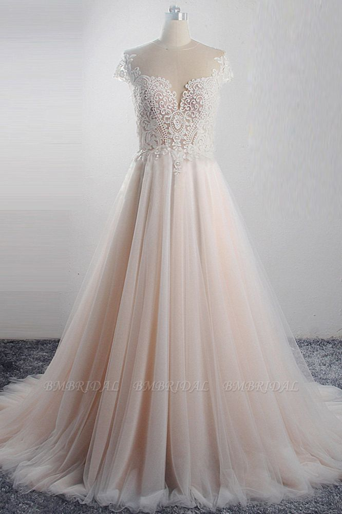 Elegant Jewel Tulle Lace Wedding Dress Short Sleeves Appliques Ruffles Bridal Gowns On Sale