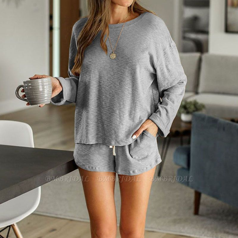 Ladies' Homewear Two-Piece Set Summer Simple & Breathable Round Neck Pajamas