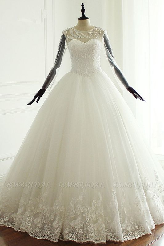 BMbridal Stylish Jewel Long Sleeves Tulle Wedding Dress Pearls Lace Appliques Bridal Gown with Crystals On Sale