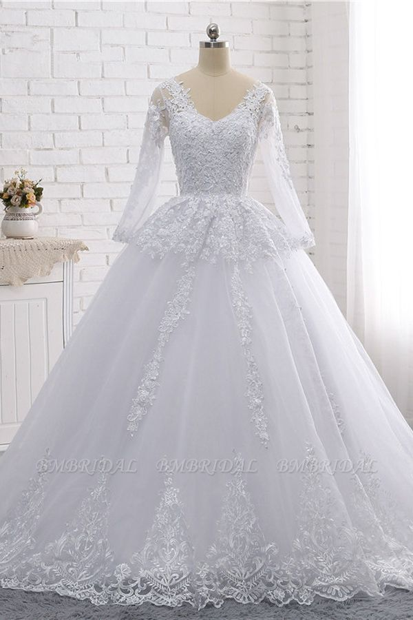 Stylish Long Sleeves Tulle Lace Wedding Dress Ball Gown V-Neck Sequins Appliques Bridal Gowns On Sale