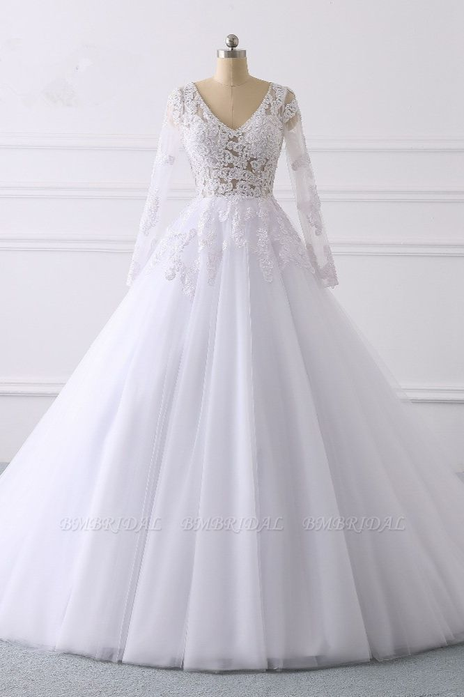 BMbridal Elegant V-Neck Long Sleeves Wedding Dress White Tulle Lace Appliques Bridal Gowns On Sale