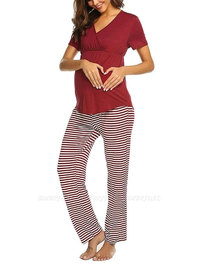 Fashion Burgundy Casual Maternity Suit with Short Sleeves