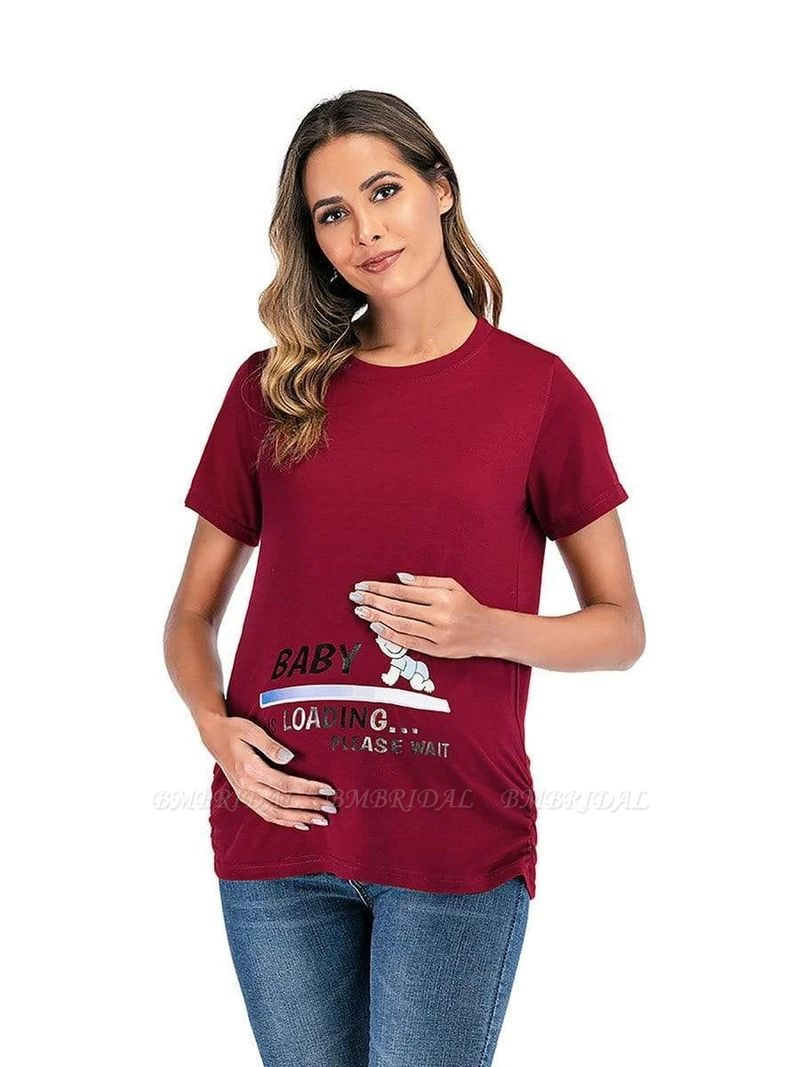 BMbridal Comfortable Printed T-shirt Maternity Clothes with Short Sleeves On Sale
