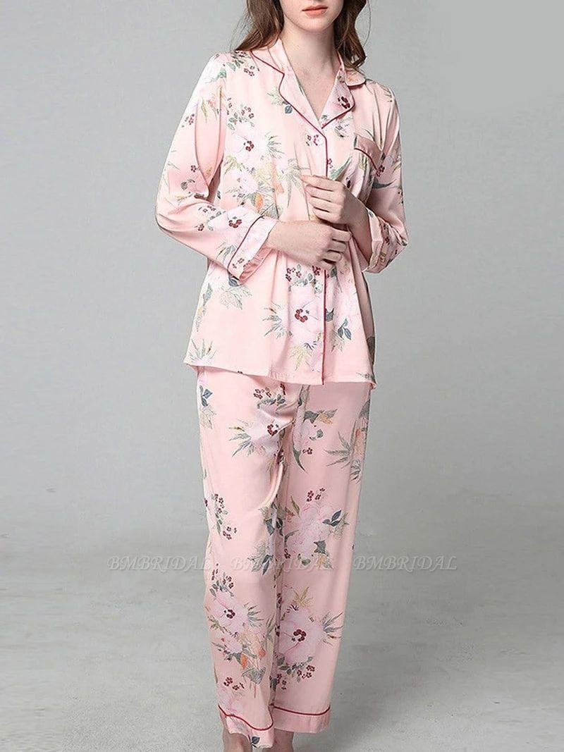 BMbridal Comfortable Women's Long Sleeve Ice silk Printed Pajamas Nightgown