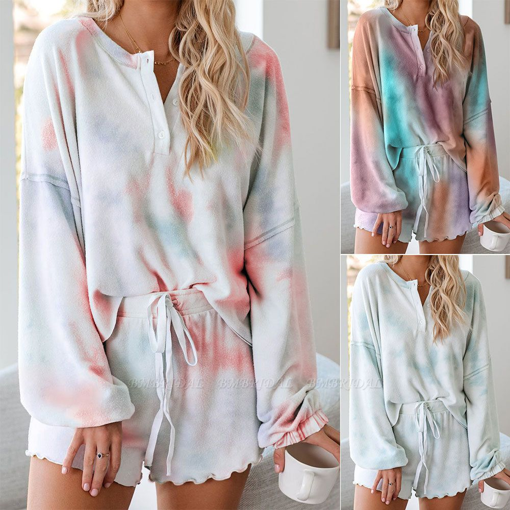 BMbridal Summer Tie-dyed Pajamas Comfortable Breathable Long Sleeves Homewear