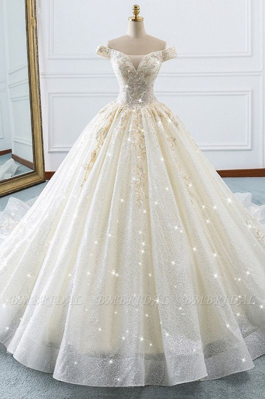 BMbridal Sparkly Sequined Off-the-Shoulder Wedding Dress Ball Gown Sweetheart Appliques Bridal Gowns Online